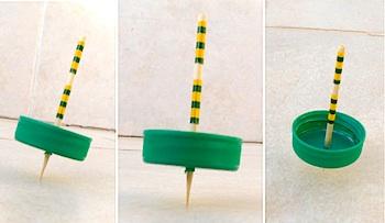 Creative Jewish Mom plastic bottle cap spinning tops craft