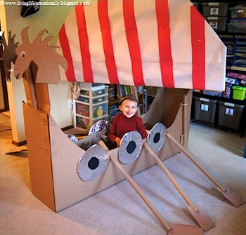 Living LIfe Intentionally cardboard viking ship