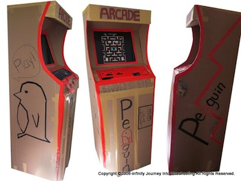 Journey Into Unschooling cardboard arcade booth