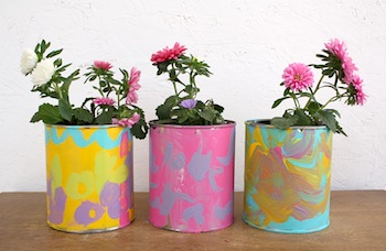 Sparkle Power painted flower pots