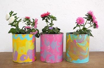 Sparkle Power painted flower pots