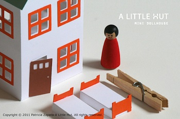 A Little Hut dollhouse template