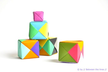 Between The Lines origami paper cubes