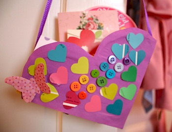 Pink and Green Mama valentine box from cereal box