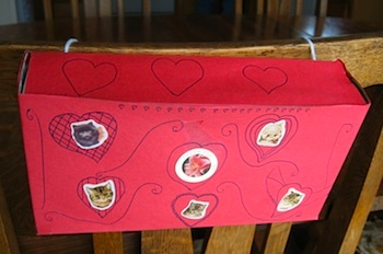 Almost Unschoolers valentine box cereal box chairback
