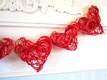 We Know Stuff valentine craft red twine hearts garland