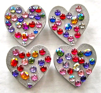 Big A Little A jeweled heart pins