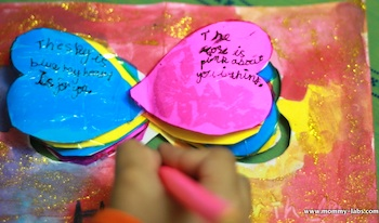 Mommy Labs valentine craft heart book with poetry