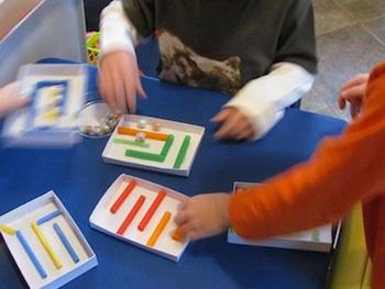 Teach Preschool craft straw mazes