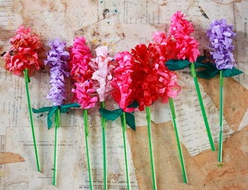 Spring flowers things to make and do crafts and activities for aunt peaches paper hyacinth tissue paper hyacinths tutorial mightylinksfo