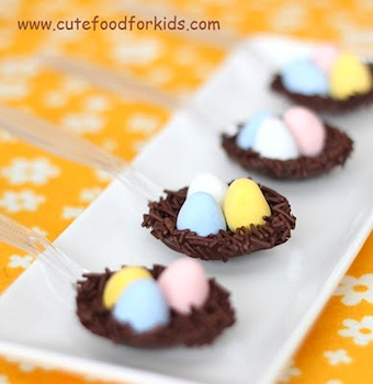 Cute Food For Kids chocolate bird's nest spoon
