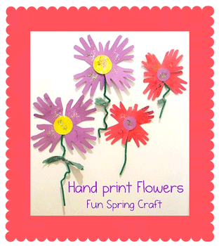 Growing A Jeweled Rose paper hand print spring flowers