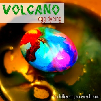 Toddler Approved decorating easter eggs volcano eggs