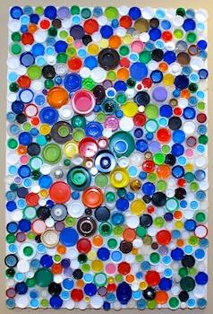 BluKatKraft plastic bottle cap mosaic