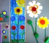 Flowers made from plastic lid craft