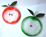 Apple craft with plastic lids