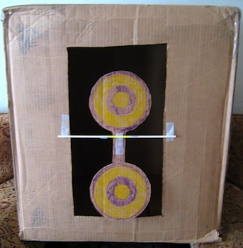 Almost Unschoolers cardboard box nerf target