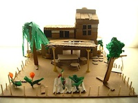 Cardboard box diorama craft