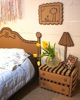 Faux furniture from cardboard boxes