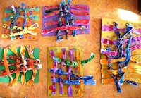 Recycled paper art weavings