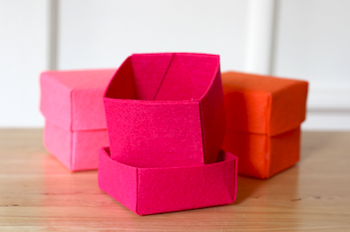How About Orange stiffened felt boxes