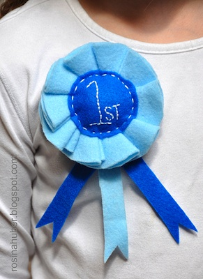Rosy ~ Posy felt blue ribbon pin