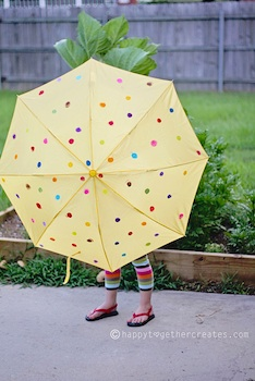 Delia Creates polka dot rainbow umbrella diy