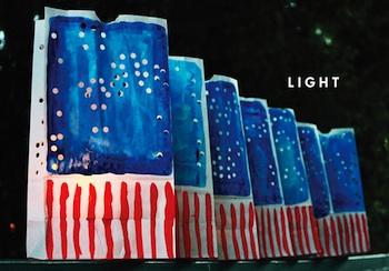 Aunt Peaches patriotic luminarias