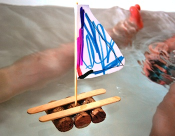 A Little Learning For Two cork and popsicle stick rafts