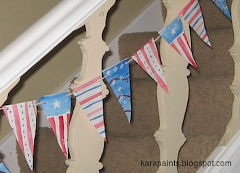 Kara Paints homemade patriotic buntings