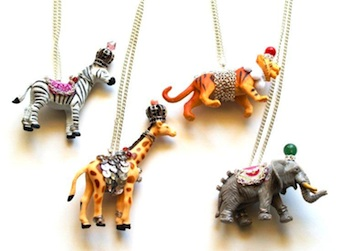 Flamingo Toes circus animal necklaces