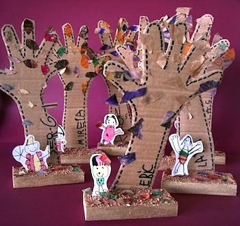 Manuales cardboard handprint trees