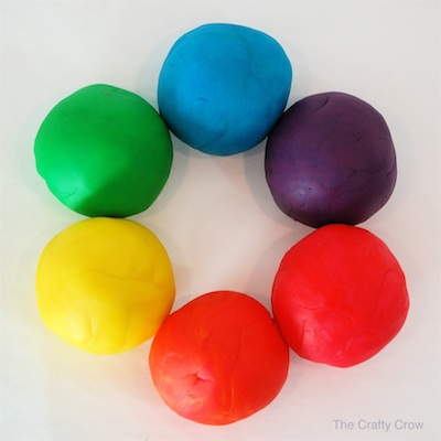 rainbow playdough recipe at The Crafty Crow