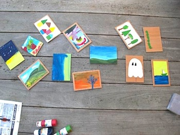 Under Construction handpainted postcards