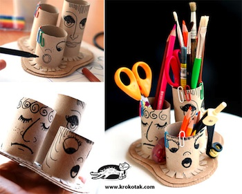 Krokotak toilet paper tube craft pencil holder