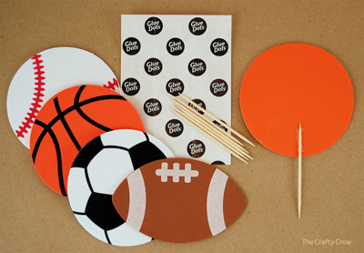 The Crafty Crow sports party cupcake toppers 1