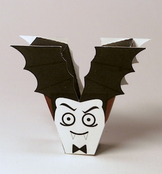 Digitprop printable paper toy v is for vampire