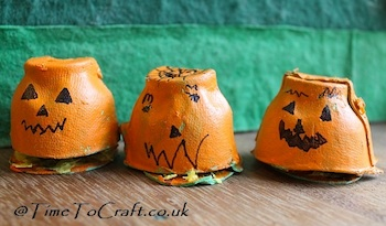 Time To Craft egg carton pumpkin hedgehog houses