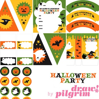 Draw! Pilgrim halloween party printable kit