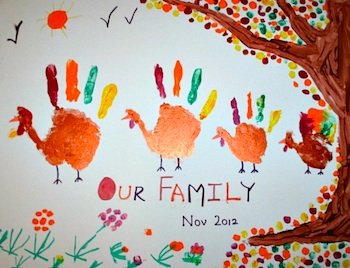 Blog Me Mom thanksgiving craft handprint turkey family