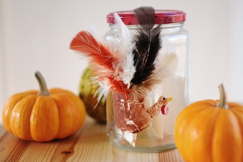 Rust & Sunshine handprint turkey thankful jar