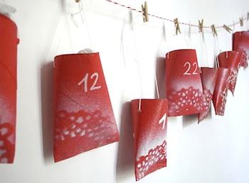 homemade advent calendar ideas doily print toilet paper tube craft advent