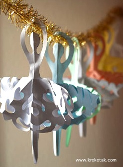 Krokotak snowflake ballerinas paper craft