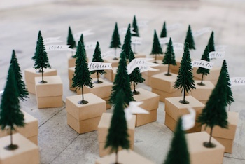 mini trees on small boxes advent calendar idea