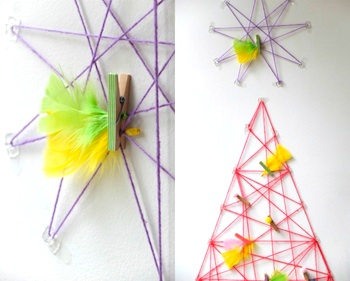 My Poppet yarn art tree and star card holder idea