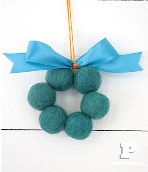 wool bead wreath ornaments