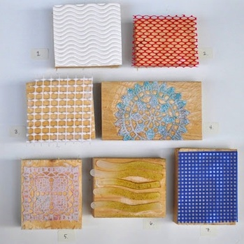 texture stamps from recycled materials and wood blocks for art for kids