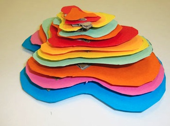 topographic paper sculpture art project side view