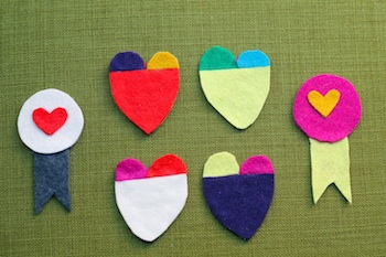 valentine craft felt heart pins