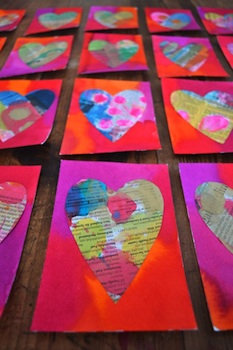 painted newspaper hearts homemade Valentine's Day card